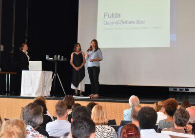 GWA-Leuchtturmstandort Fulda, v.l.n.r: Katrin Sen (LAG), Monika Weiß (Ehrenamtliche, Fulda), Iryna Böhm (Bürgerzentrum Ziehers Süd)