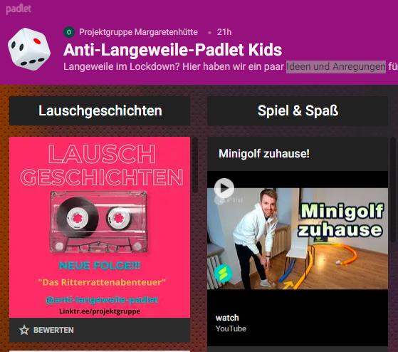 Gießen Margaretenhütte: Anti-Langeweile-Padlet für Kids
